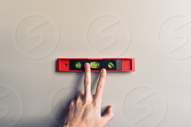 measure tool home office improvement wall hand level leveler photo