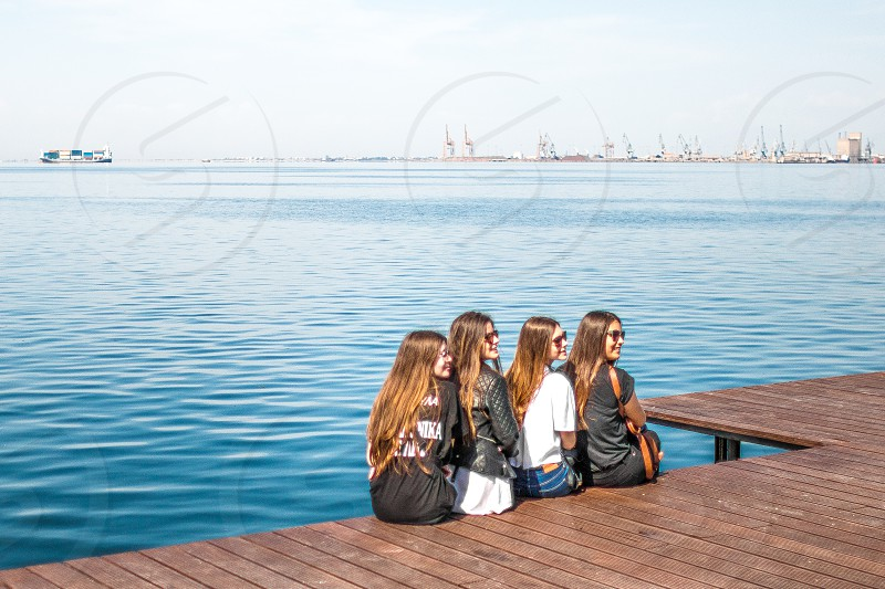 Teens Posing In The Port photo