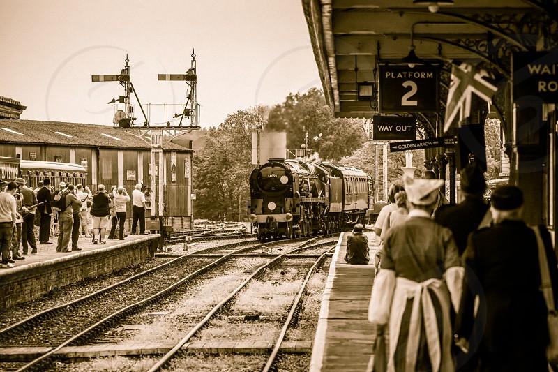 34059 arriving at Horsted Keynes station photo