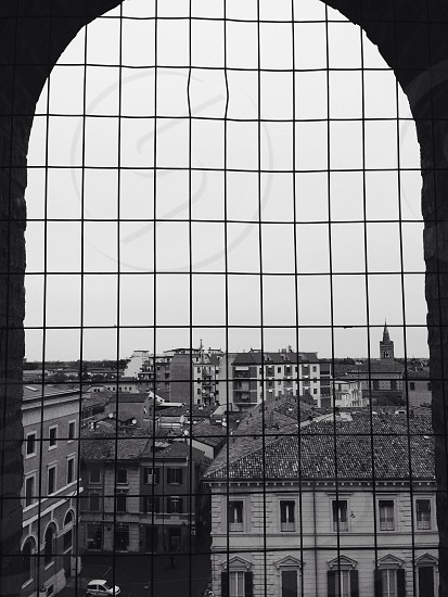 black and white picture of a window  photo