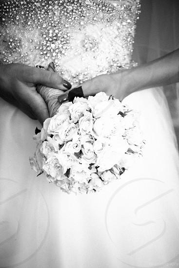 wedding bouquet black and white photo
