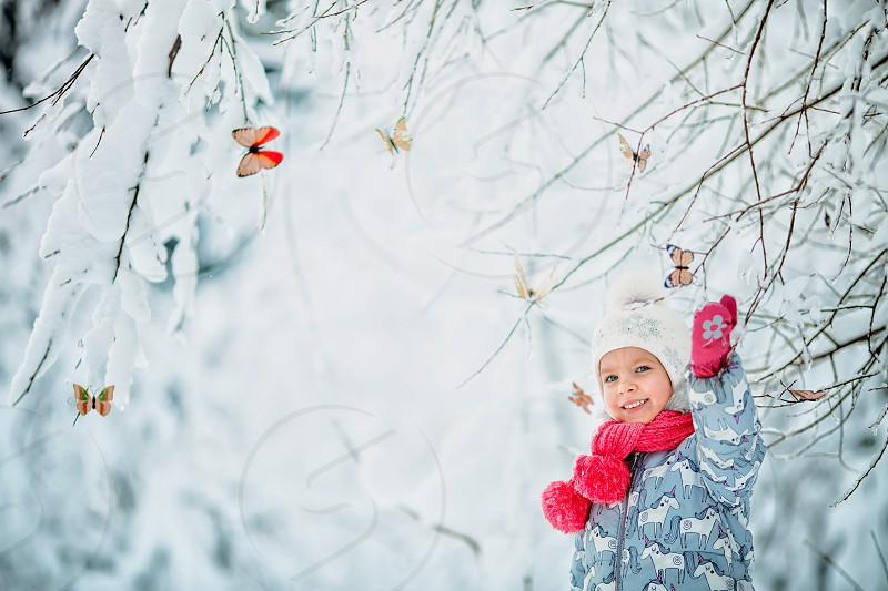 Girl winter snow forest funny cute beautiful child childhood nature outdoor portrait miracles tree ice frozen people person light white photo