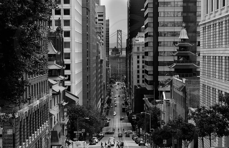 San Francisco Bay Bridge Chinatown Cable car California St. B&W photo