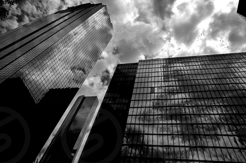 Black and white Houston Texas downtown mirror buildings detail photo
