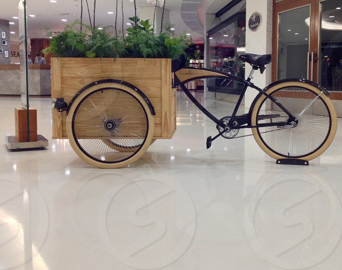 black and brown bicycle with cart in a room photo