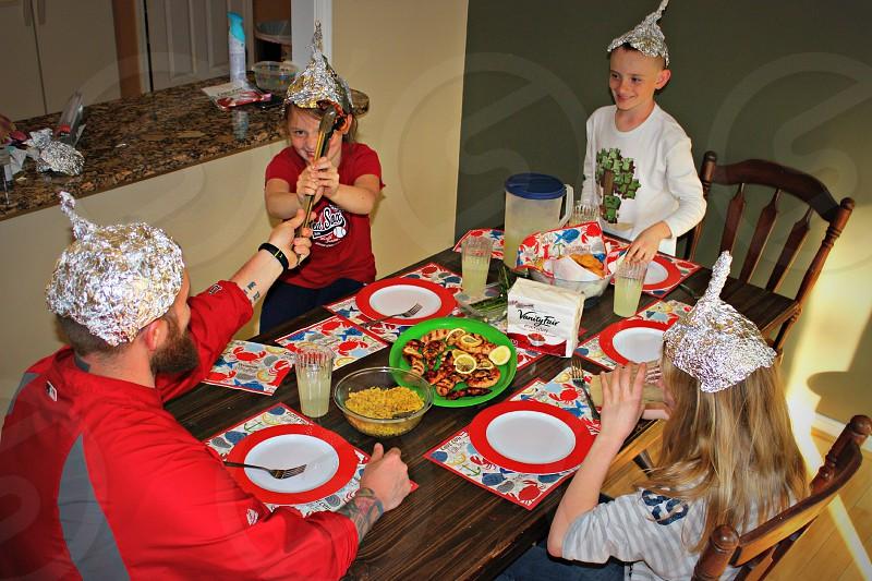 napkins family themed aliens attack tin foil helmet vanity fair napkins  photo