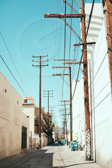 brown wooden electric posts photo