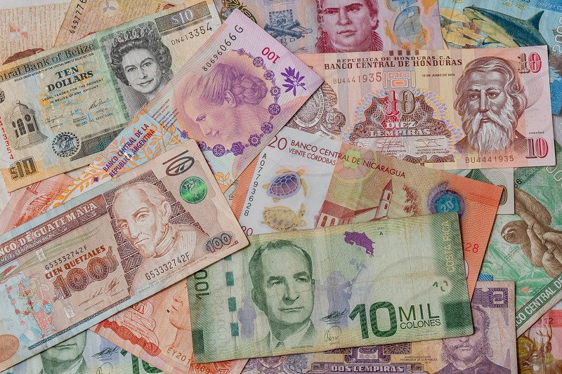 Money from multiple countries including Mexico Costa Rica Argentina Honduras Belize and Guatemala. photo