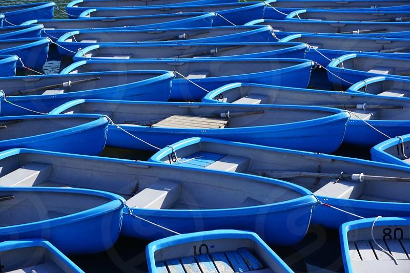 Blue boats at Arashiyama  photo