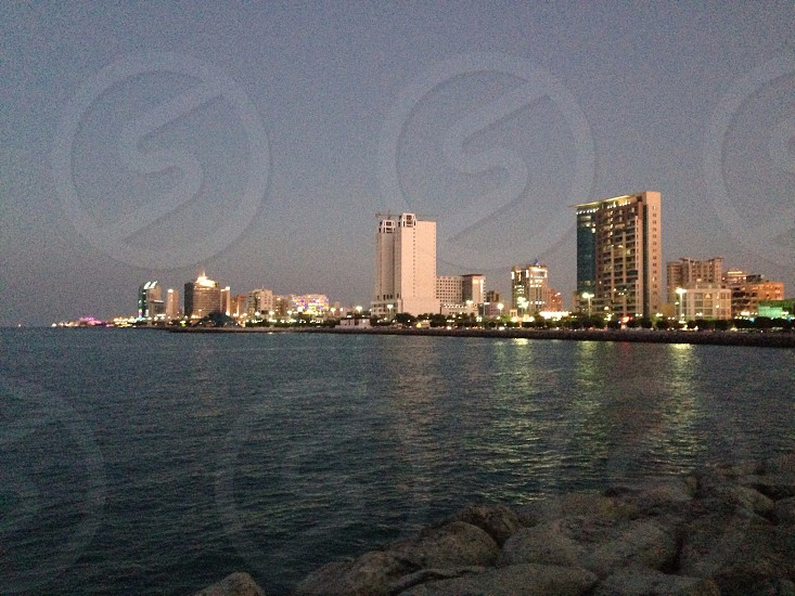 LisAm Middle East Kuwait buildings Landscape Cityscape when the night come lights water photo