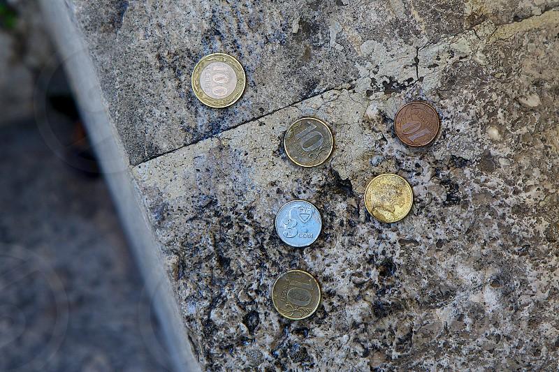 World coins at Arasta Bazaar Istanbul photo