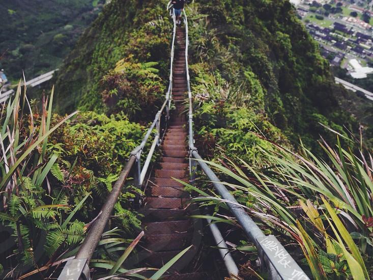 long staircase mountain cliff photography photo