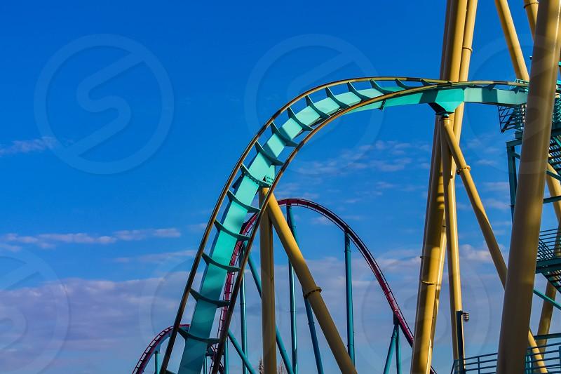 Orlando Florida . February 26  2019.  People enjoying terrific Kraken rollercoaster at Seaworld Theme Park (3) photo