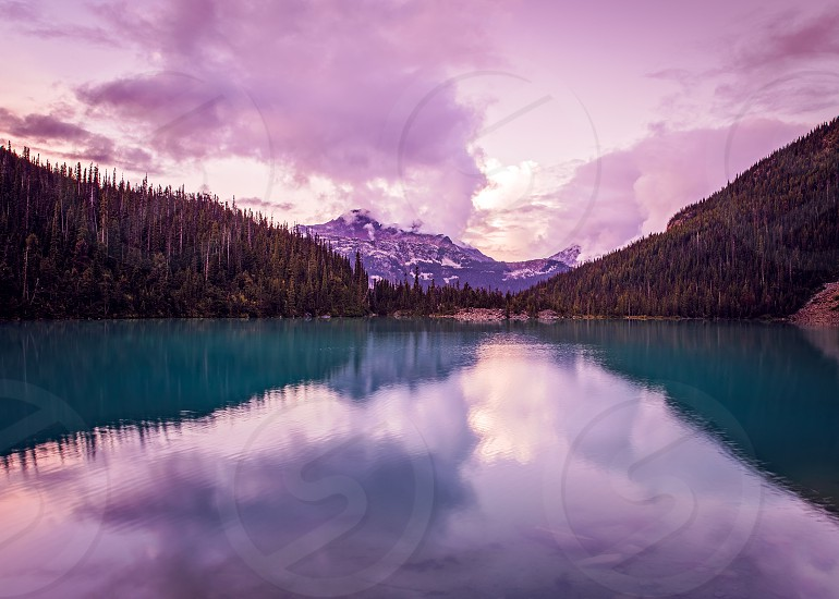 Beautiful Scenic Mountain view of Mount Cayoosh and Upper Joffre Lake at sunset in British Columbia Canada photo