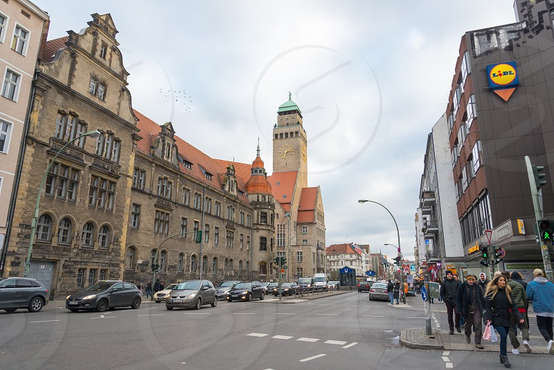 On Karl-Marx-strasse here is the place where you can find historical building before pre-war for example the Rathaus inside Neukolln Neighborhood in Berlin Germany photo