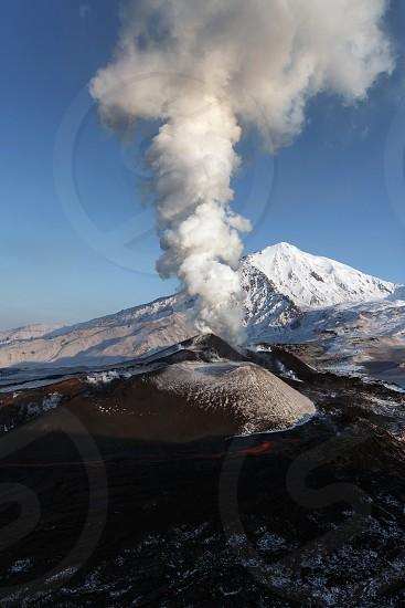 Beautiful nature of Kamchatka: eruption Tolbachik Volcano (view from helicopter). Eurasia Russian Far East Kamchatka Peninsula Klyuchevskaya Group of Volcanoes. photo