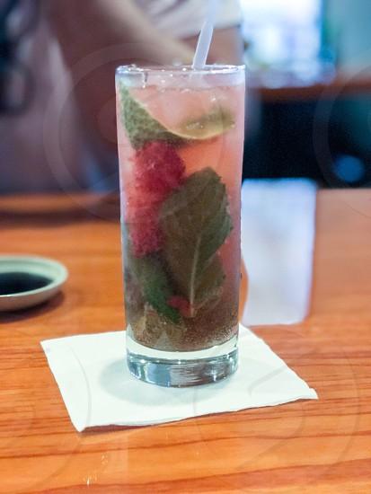Mixed drinks mojito glass talk glass restaurant fresh fruity drinking  table  photo