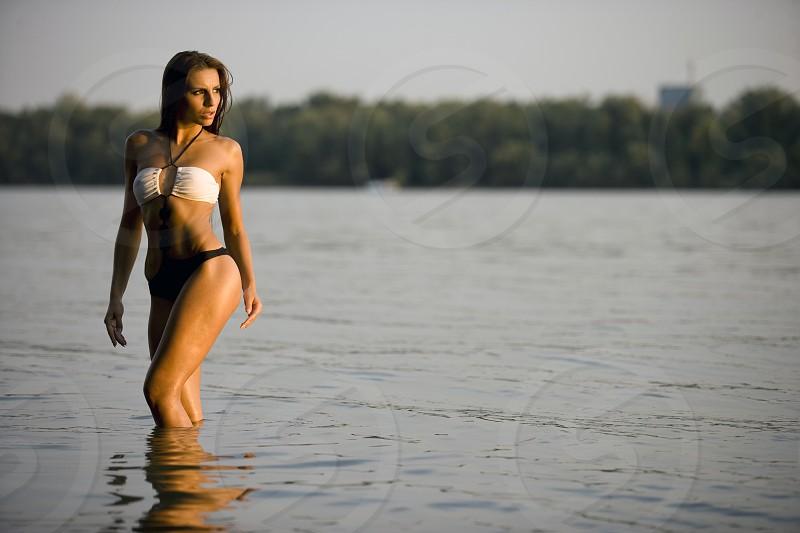 Model in water photo