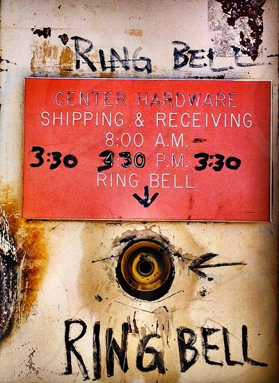 ring bell  center hardware shipping and receiving  8:00am  3:30PM photo