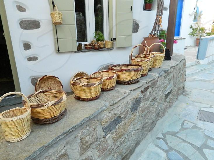 Handmade baskets at Greek island Tinos photo