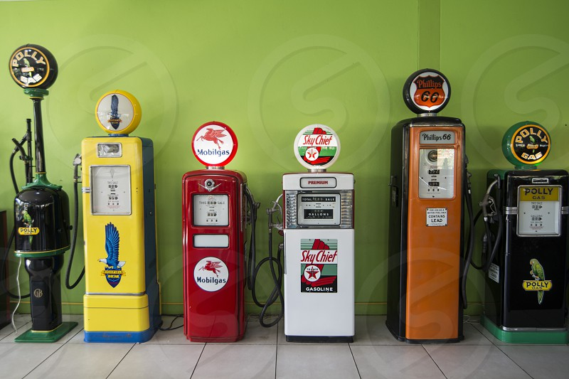 Petrolium stations at the museum of the nong nooch tropical garden near the city of Pattaya in the Provinz Chonburi in Thailand.  Thailand Pattaya November 2018 photo