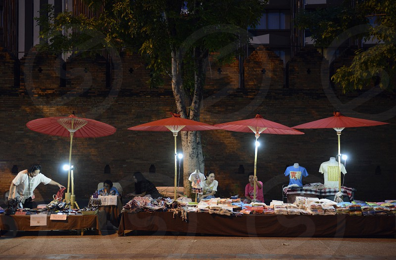 a nightmarket at the Citywalll in the city of chiang mai in the north of Thailand in Southeastasia. 