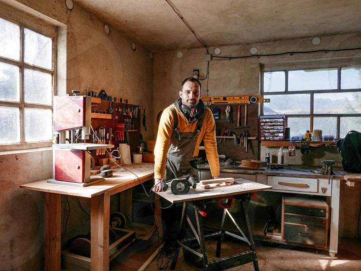 Young man in his workshop. photo