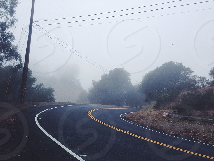 Curve in the roadway photo