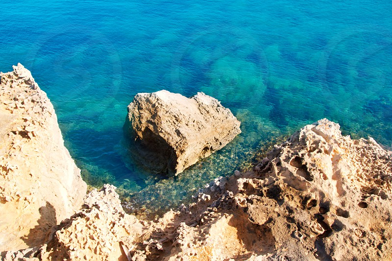 Can Marroig in Formentera Balearic island high view of turquoise Mediterranean photo