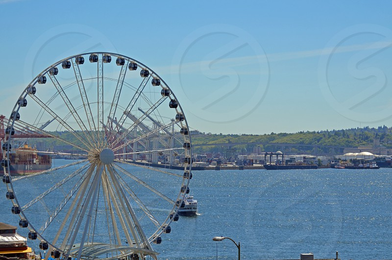 View of Seattle Waterfront from a Pike's Market elevator photo