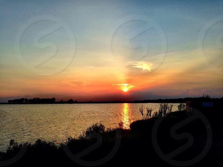 Sunset overlooking the Gulf Bay in my backyard.  photo