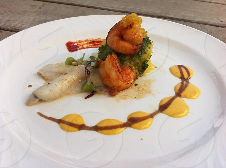 shrimp on round white plate photo