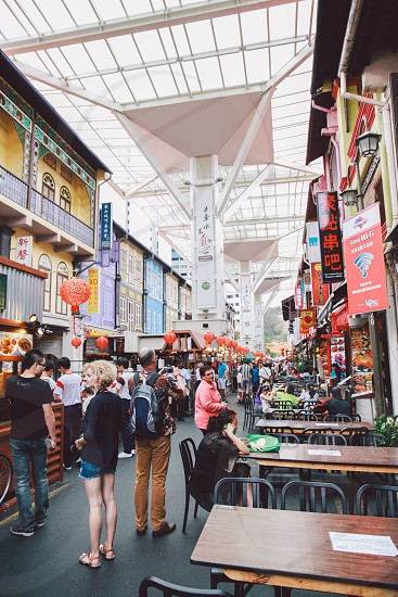 street food market singapore asia photo
