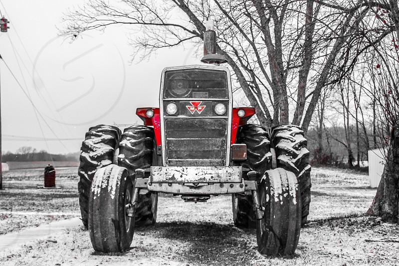 First snowfall of the year in Kentucky. Massey Ferguson tractor winter snow 1135 Kentucky seasons automotive  photo