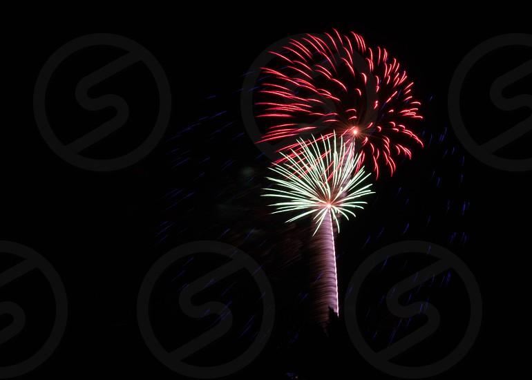 fireworks display on night sky photo