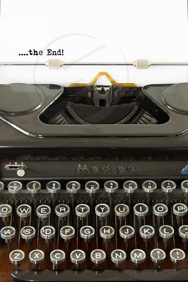Typewriter the end  white paper keyboardkeys old  vintage photo