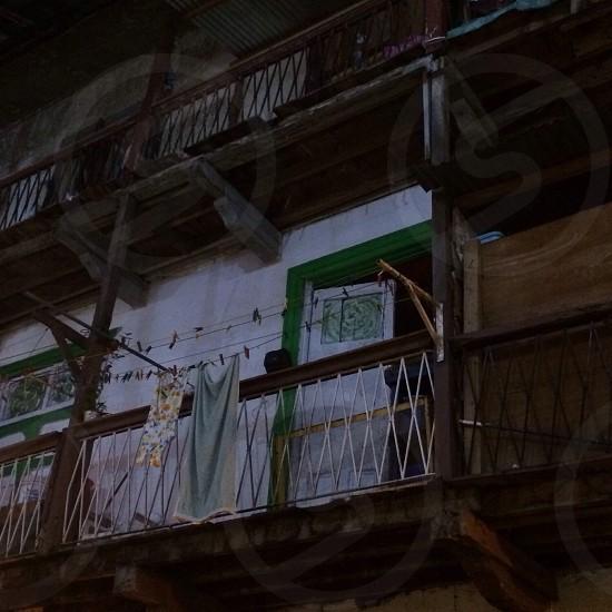 Vintage; clothes; clothesline; balcony; Old City; Panama photo