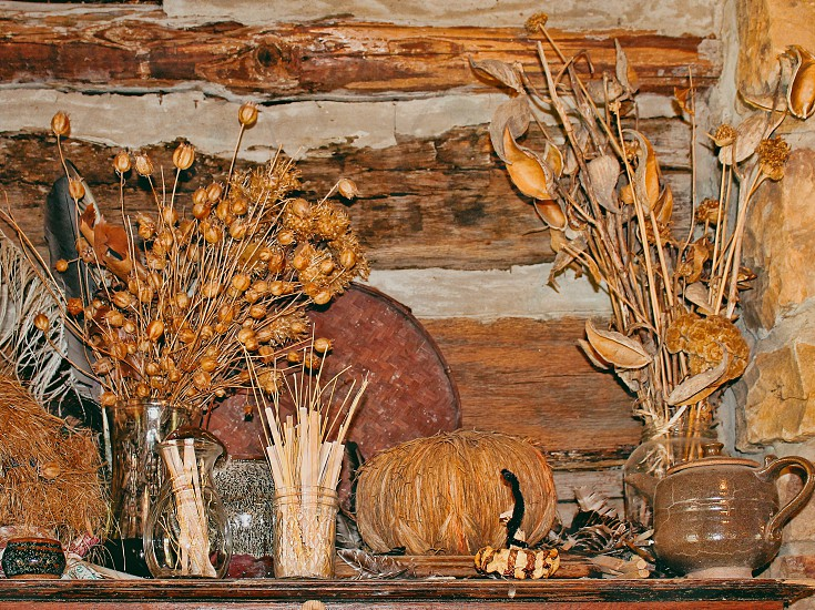 Dried flowers and plants are displayed on a rustic mantle photo