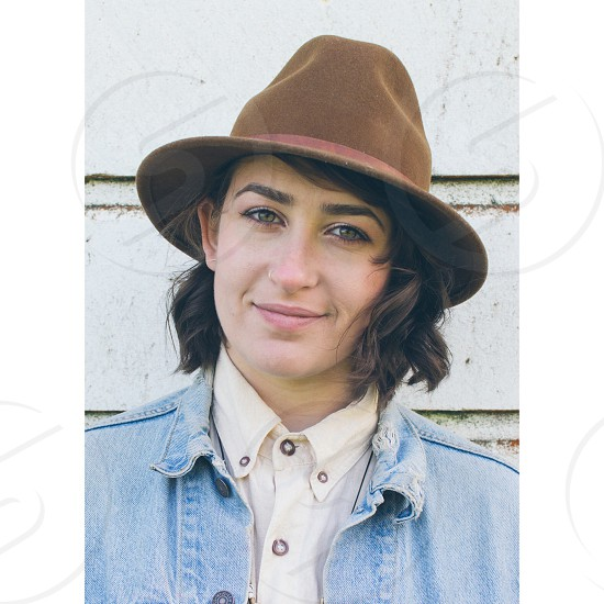 woman in brown hat photo