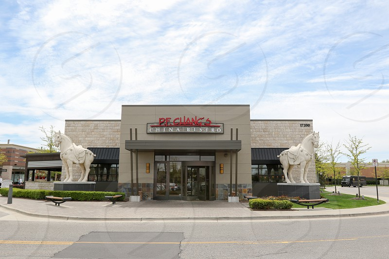 The entrance to the P.F. Chang's in Clinton Township Michigan.  Part of the Partridge Creek shopping center/mall. photo
