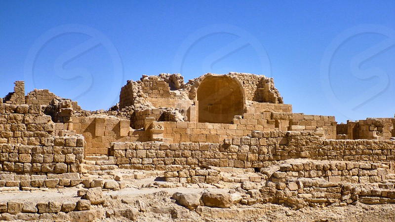 View at antique ruins. Negev Desert in Israel. photo