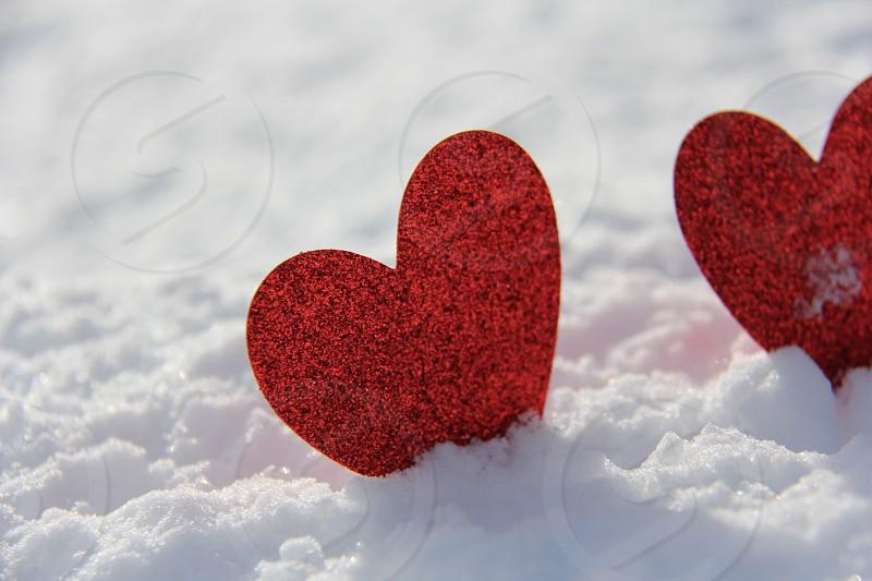 Heart Love Snow Snowflakes Red White Sparkling Glitter Valentine Ice. photo