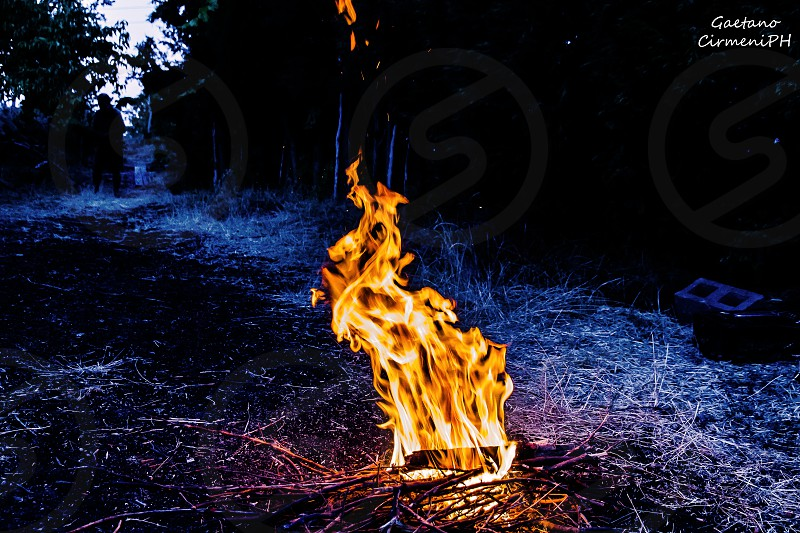 bonfire BBQ Etna Italy fire flames flame red openspace warm hot  photo