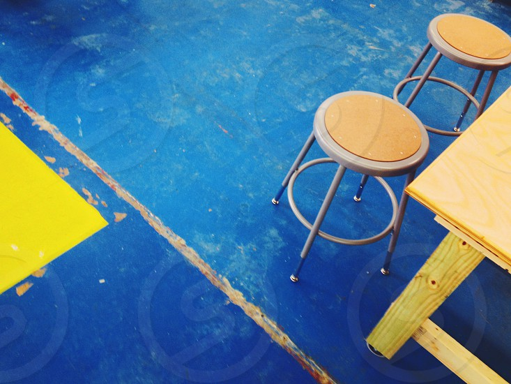 print shop workspace studio space creative classroom makerspace fab lab hackerspace workshop creativity studio blue stools blue and yellow  photo
