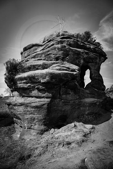 Black and white shot of a 500 million years old Brinham rock photo