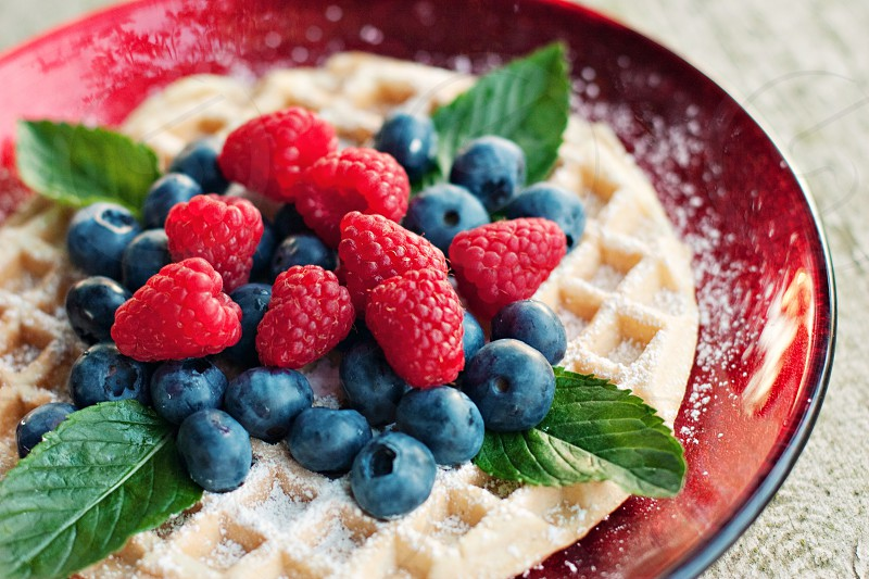 Breakfast fruit waffle photo
