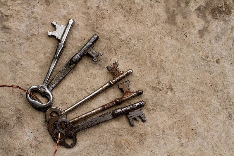 keys old key vintage castle stone collection key ring photo