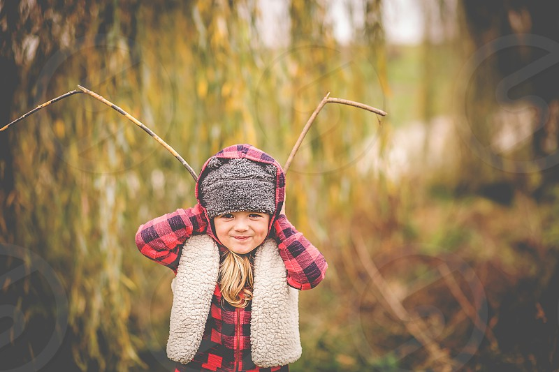 reindeer girl fall flannel child juvenile photo