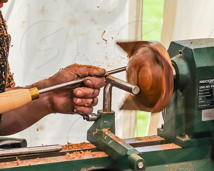 Wood turning lathe machine woodworking woodwork trade skill make sculpture sculptor turn work make making shave shavings rest  photo