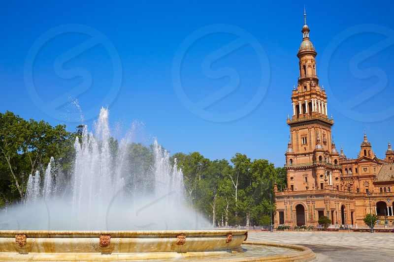 Seville Sevilla Plaza de Espana fountain Andalusia Spain square photo